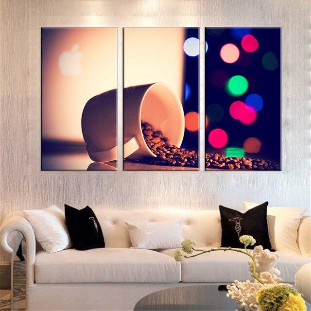 Paiting Minyak Dicetak Lukisan Gambar Biji Kopi Kanvas Dinding Dibingkai Untuk Ruang Tamu Hd