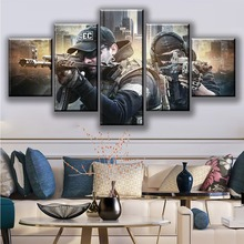 Fantasy Games Art HD Picture 5 Piece Escape From Tarkov Poster Wall Sticker Soldier Paintings Canvas for Home Decor