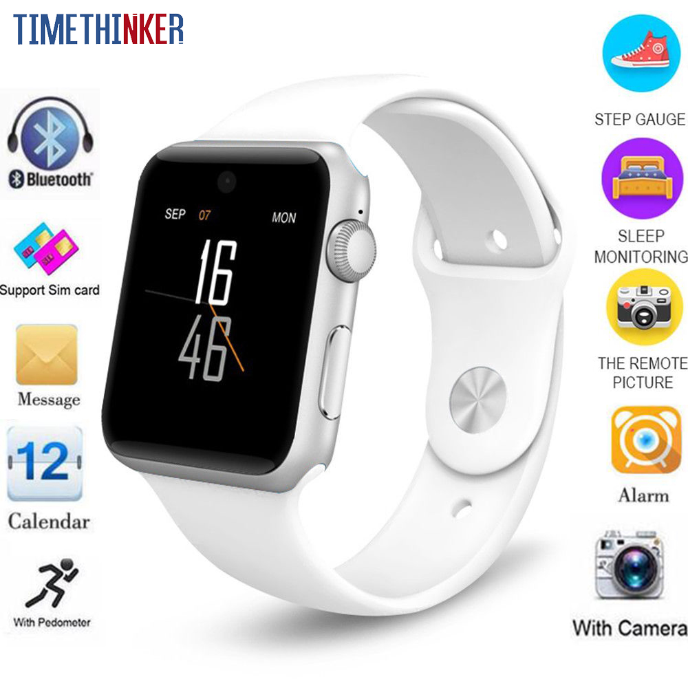 Timethinker montre intelligente avec caméra carte SIM HD appel 2G GSM Relogio Smartwatch DM09 pour Apple Samsung Watch 1.54
