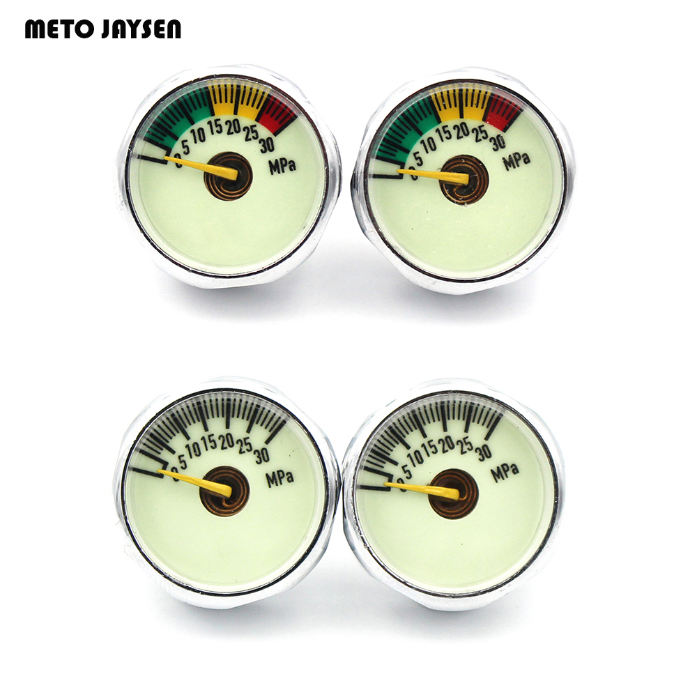 3PCS=1 LOT PCP Paintball Luminous Mini Air Pressure Gauge Airfore Manometre 10mpa 20mpa 30MPA 1''  One Inch M8x1 M10 X1 Thread