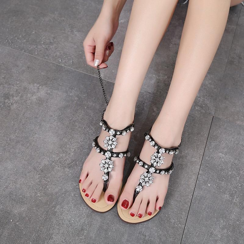HTB1DfOagHsrBKNjSZFpq6AXhFXaH 6 Color Woman Sandals Women Shoes Rhinestones Chains Thong Gladiator Flat Sandals Crystal Chaussure Plus Size 46 tenis feminino