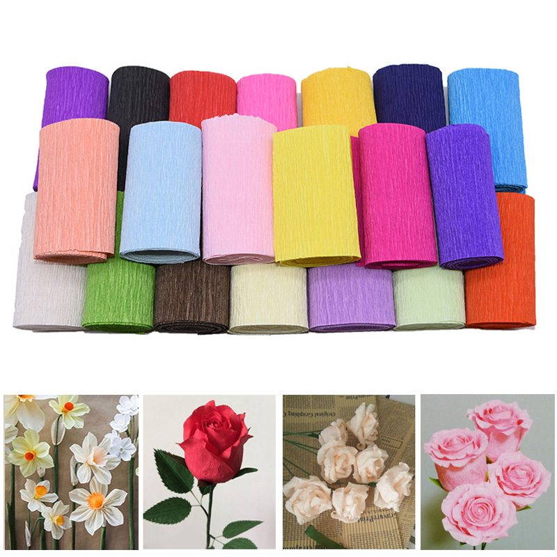 2 Roll 250*10cm Origami Crepe Paper Crinkled Craft Paper for Wedding Party Decoration DIY Gifts Flower Wrapping Packing Material
