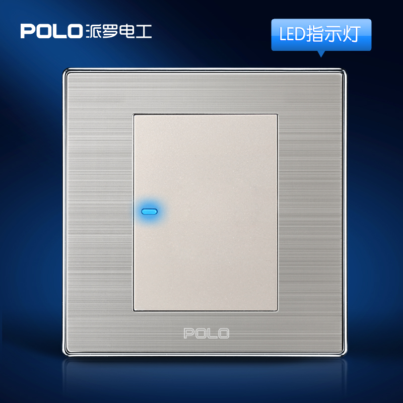 Wholesale POLO Luxury Wall Switch Panel, Light Switch,1 Gang 1 Way,Champagne/Black,Push Button LED Indicator,16A,110~250V, 220V free shipping polo luxury wall light switch panel 3 gang 2 way champagne black push button led switch 16a 110 250v 220v