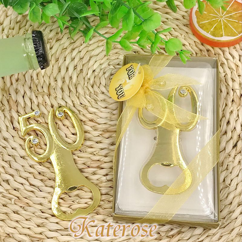 18pcs lot FREE SHIPPING Golden Wedding Favors Bottle Opener 50th Anniversary Beer Openers Party Giveaway