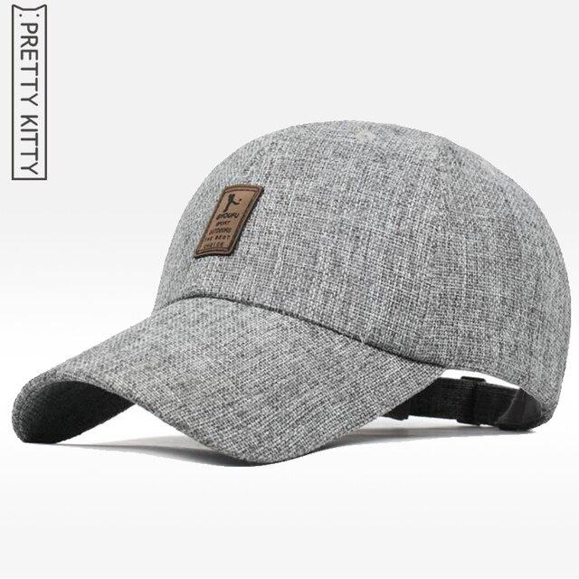 2190e698a05b5 Pretty Kitty material de alta calidad Lino gorras de béisbol para hombre  SnapBack gorras touca sombrero