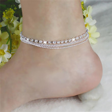 Women Summer Beach Anklet Silver Bead Chain Anklet Bracelet Woman Lady Fashion Foot Jewelry Sandal Barefoot Jewelry