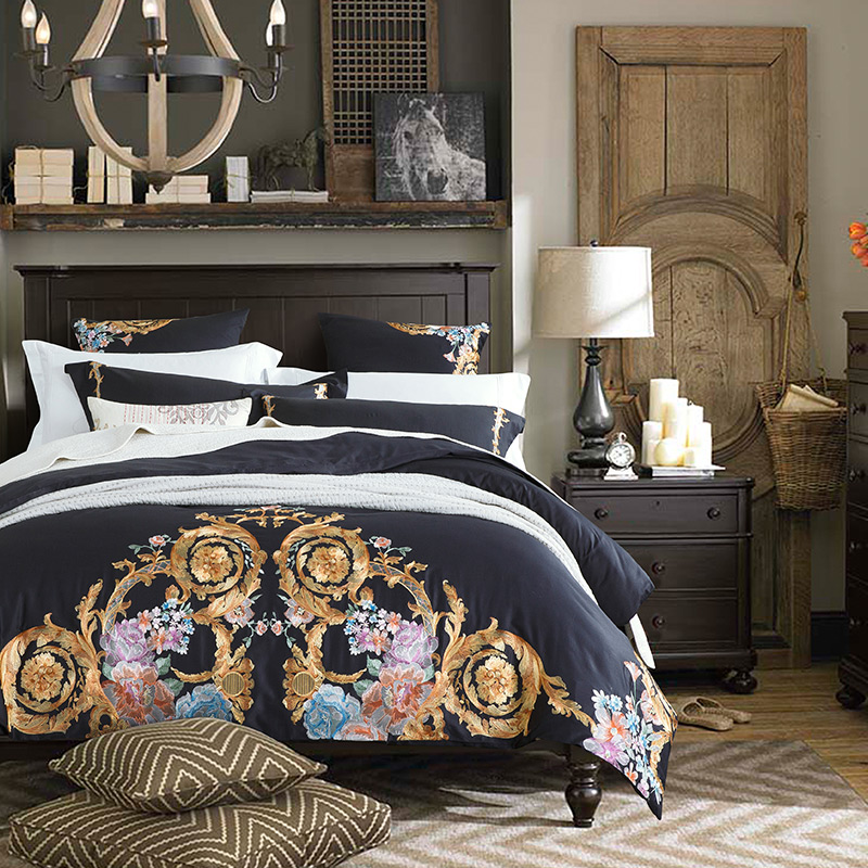 New 2018 Embroidery Egyptian Cotton Luxury Bedding Set Queen King size Bed set Duvet cover Bed