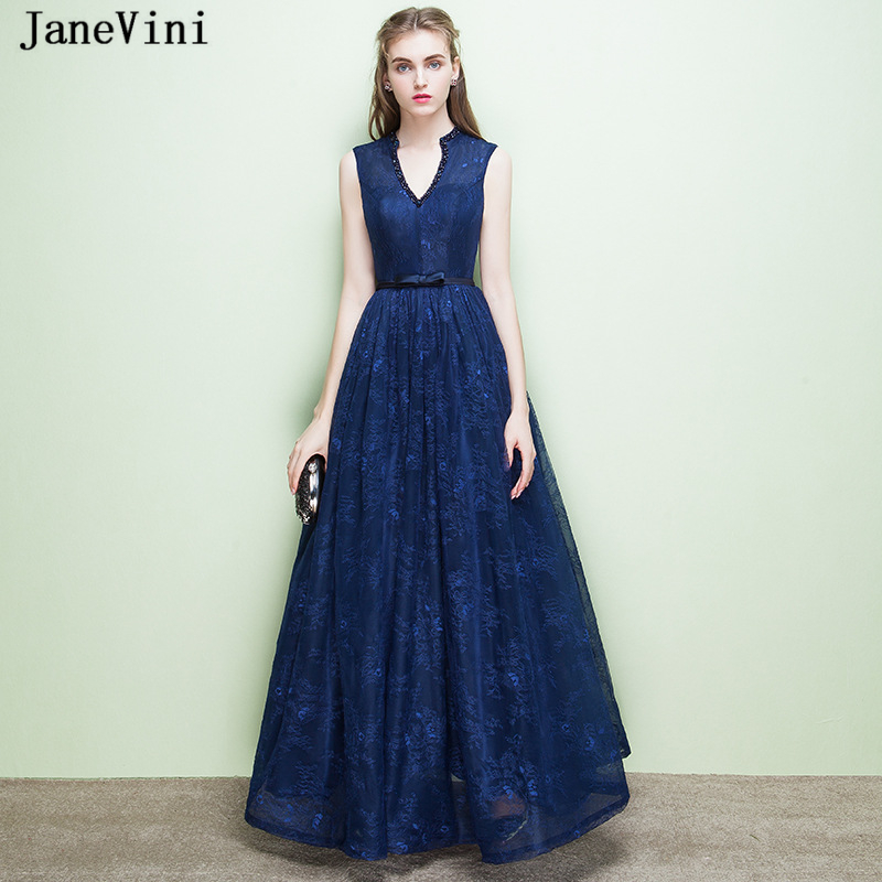 JaneVini Vintage Navy Blue Plus Size Long   Bridesmaid     Dresses   A Line V Neck Lace Beaded Backless Floor Length Formal Prom Gowns