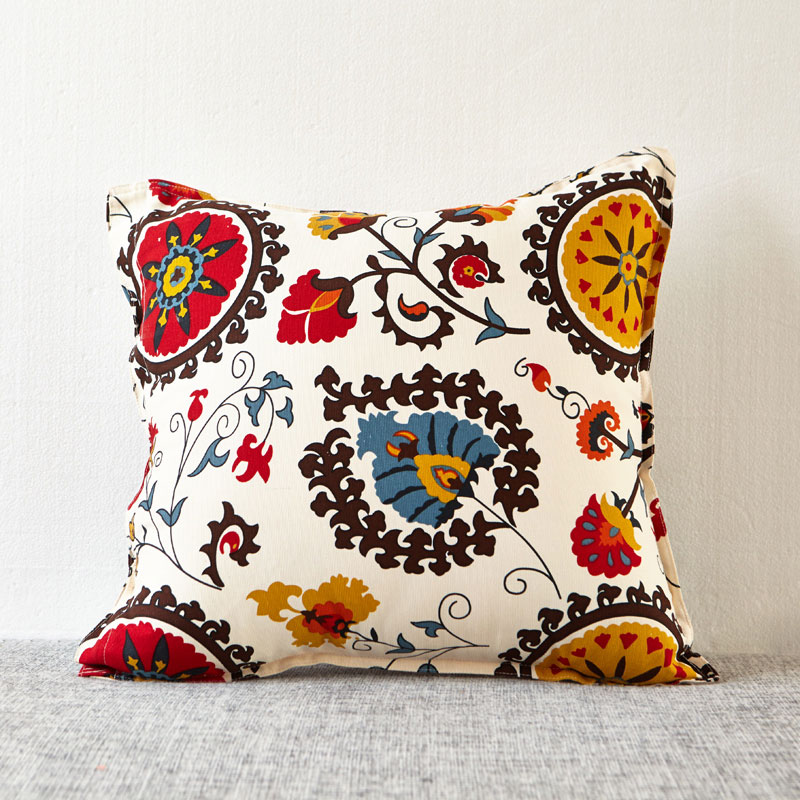 vintage floral decorative throw pillows for sofa square pillows with filling cotton linen couch pillows cushions