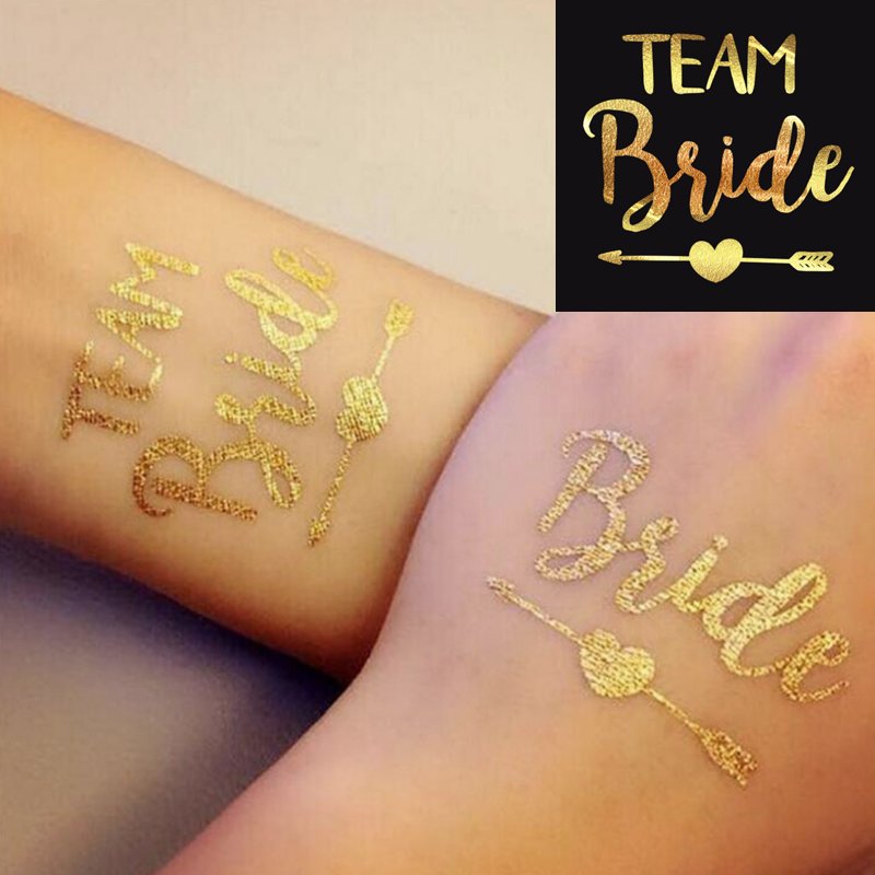 1Pc New Team Bride Temporary Tattoo Bachelorette Party Bride Tribe Flash Tattoo Bridesmaid Gift Bridal Shower Wedding Decoration