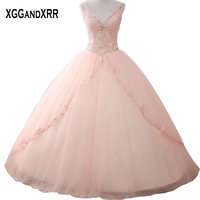 Hot Sale Pink Tulle Quinceanera Dresses 2018 V Neck Appliques Crystal Lace Up Back Spaghetti Straps