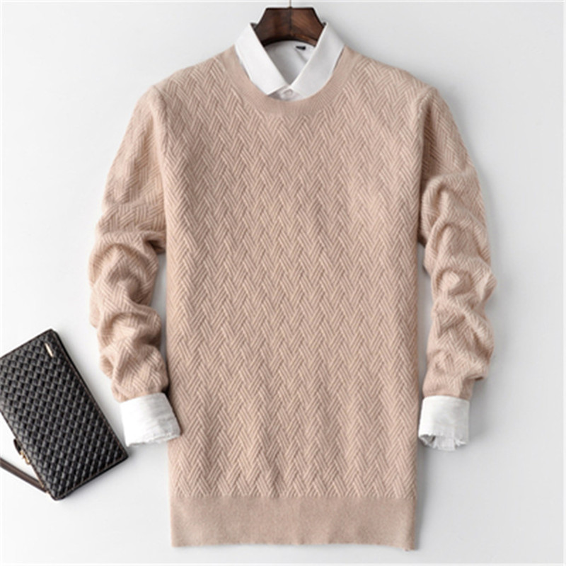 100%cashmere Cross Twill Thick Knit Men Fashion Oneck H-straight Pullover Sweater 4color S-2XL Retail Wholesale