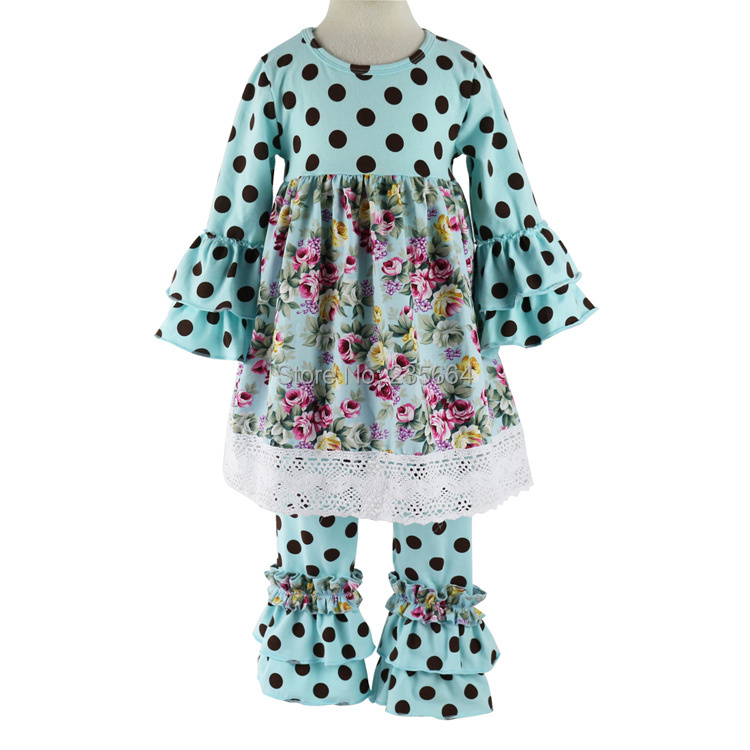 4c4301403 Kids Children Clothing Fall/spring Clothes Girls 2pcs Clothing Sets Polka  Dot Ruffle Pant Set Boutique Outfits With Lace Trims