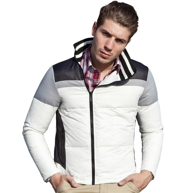 756896f150 Lesmart Men s Winter Jacket Brief Business Casual Fashion Light White Duck  Down Easy-carry Stand
