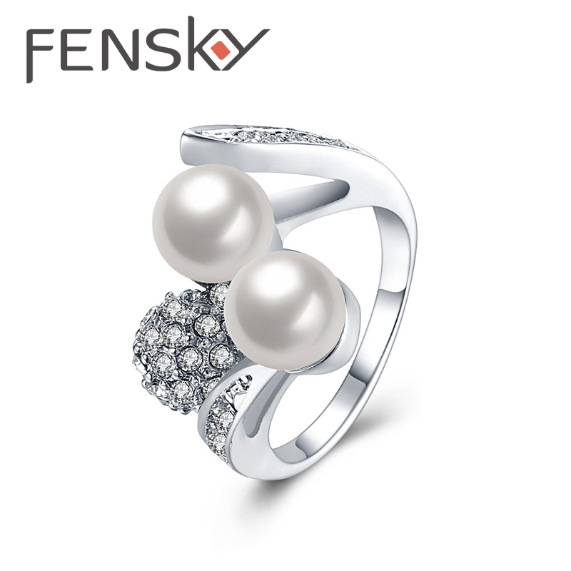 fensky western style female imitation pearl wedding rings elegant crystal finger ring for women trendy jewelry - Western Style Wedding Rings
