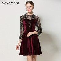 High End Women S Lace Velvet Dress Winter Four Seasons Women Black Lace Stitching Aliexpress Uk