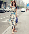 2016 Summer Style Vintage Floral Print Cotton Linen Dress Women Sleeveless Long Maxi Tank Dress Vestidos Bohemia Dresses G422