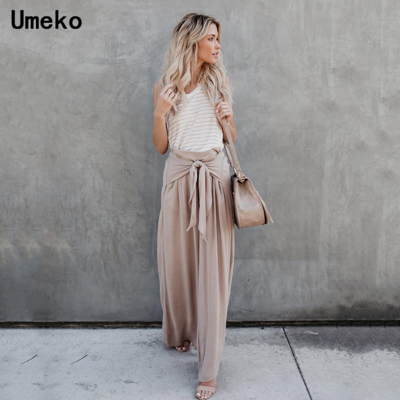Umeko 2019 Fashion Women Pleated Loose Long   Wide     Leg     Pants   High Waist Solid Color Casual Trousers Ladies Spring and Autumn
