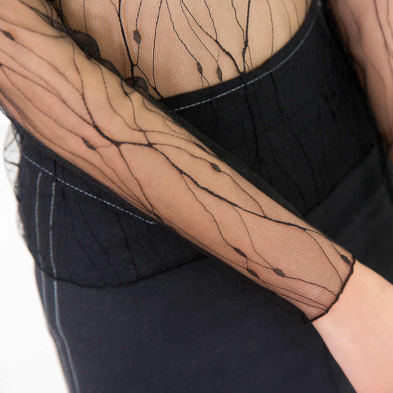 섹시한 여성은 투명 메쉬 탑스 긴 소매 얇은 슬림 숙녀 터틀넥 ds051을 통해 볼 수