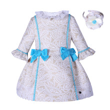 c51f19a536669 Pettigirl Khaki Girls Jacquard Bowtie Dress With Hairhand Lace Collar  Princess Dress Boutique Spring/Autumn Kids Clothes B74