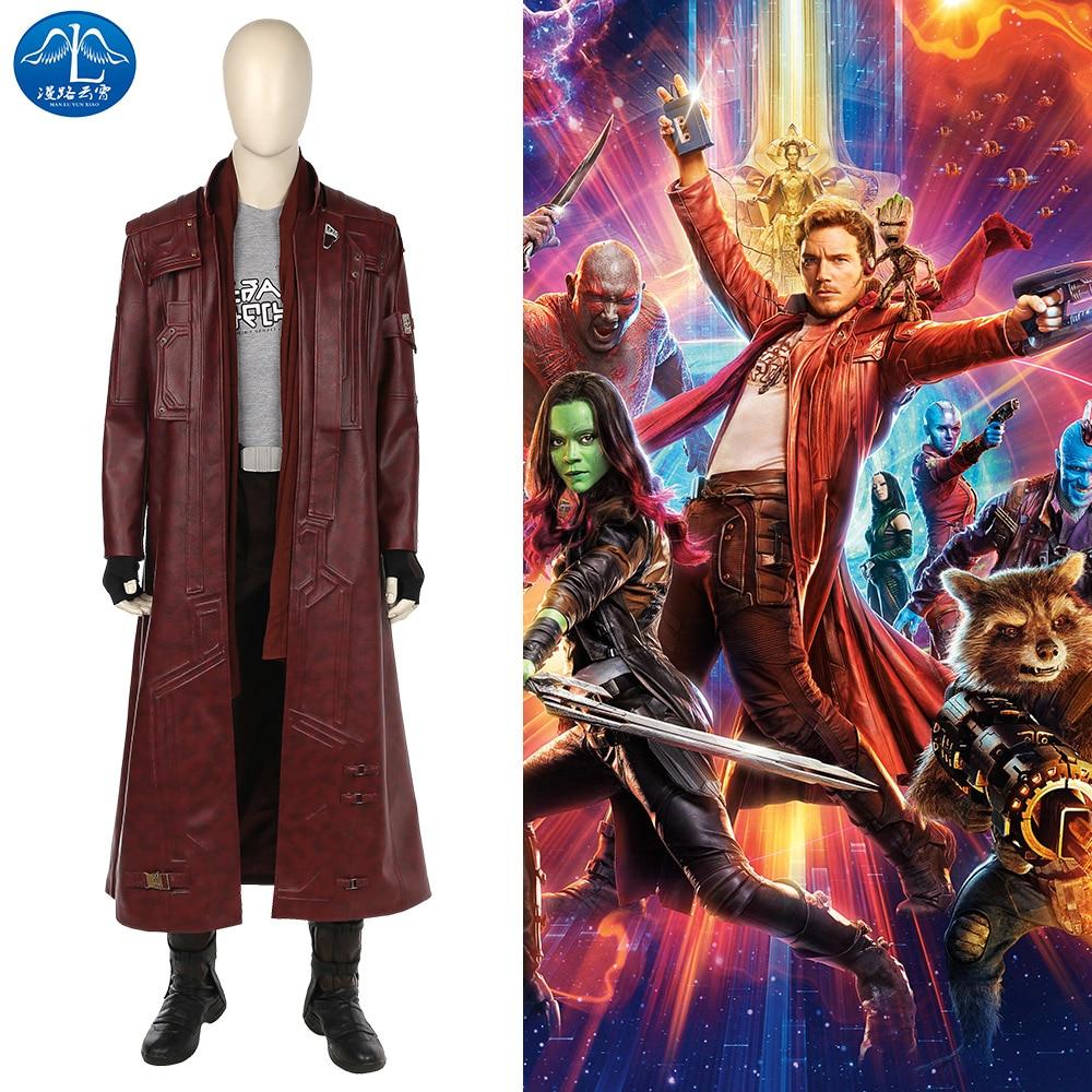 MANLUYUNXIAO Nueva llegada Guardianes de la galaxia 2 Disfraz Peter Quill Star Lord Cosplay Traje de hombres conjunto completo por encargo