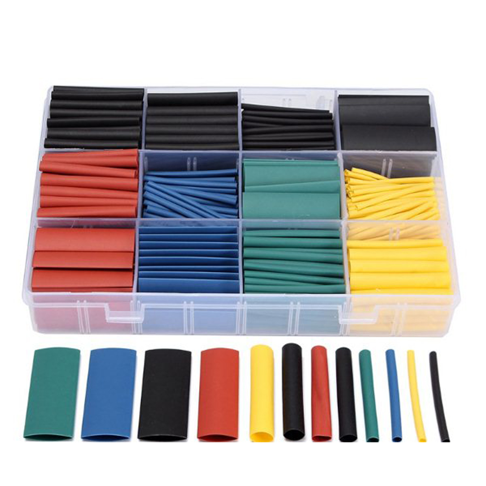 530pcs Heat Shrink Tubing Insulation Shrinkable Tubes Assortment Electronic Polyolefin Wire Cable Sleeve Kit Heat Shrink Tubes blue polyolefin 3 0mm x 200 meters heat shrink tubes 2 1