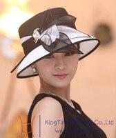 Darmowa wysyłka kobiety sukienka moda kapelusze fantazyjne kapelusze dla kobiet kapelusz formalne szerokie rondo kapelusza organza flower akcesoria do włosów dwa kolory