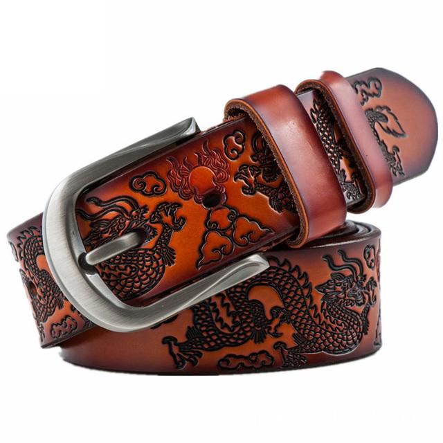 100% piel de vaca cinturones de cuero genuino para los hombres a estrenar Estilo Dragón pin hebilla de Correa masculina de La Vendimia de lujo vintage jeans cintos PD120