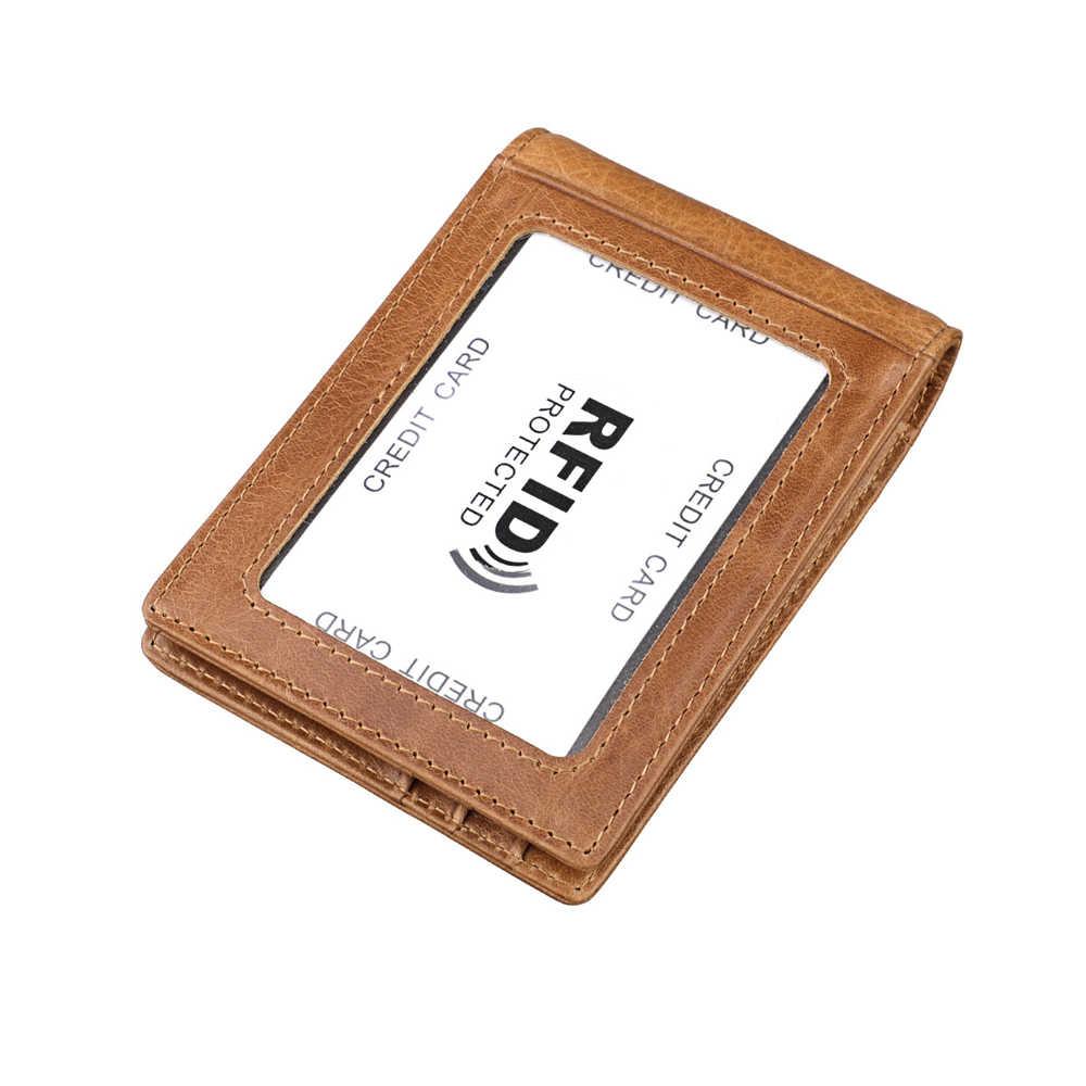 Funda de tarjeta de crédito de cuero genuino Moxi carteras para hombres y mujeres Slim Dollar Clip Rfid Bloqueo de dinero Real Tarjeta de piel de vaca bolso