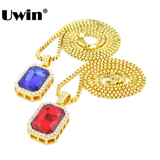 2015 new arrived fashionable gold iced out necklace set with red 2015 new arrived fashionable gold iced out necklace set with red blue stone pendants necklace for aloadofball Image collections