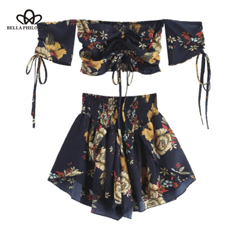 Off Shoulder Cinched Floral Women Set Summer Slash Neck Short Sleeves Crop Top High Waist Shorts Set Beach Boho Suits