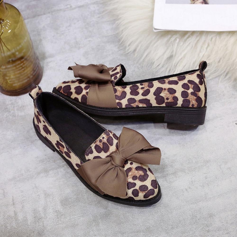 8dec6302 Cuadrado Señaló De Guisantes Zapatos Ay3 Con khaki Leopardo Arco Beige Mujer  Individuales q5qRrHd