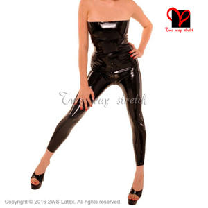 476791172bc Two way stretch Sexy Latex Catsuit Black Jumpsuit size