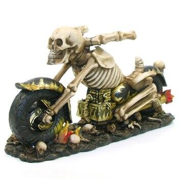 Czaszka Duch Reaper Motocyklista Speed King Rider Szkielet Szkielet Piekło na Rower Chopper Biuro Decor Stojak Uchwyt Na Butelkę Wina