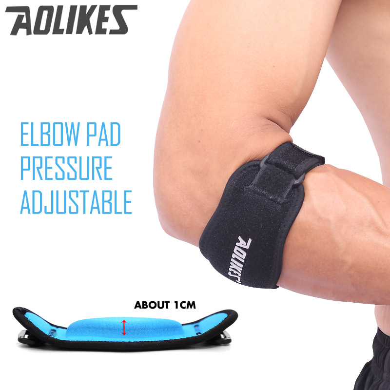 AOLIKES 1 PCS Fitness Coude Pad Tennis Badminton Coderas Muscle Pressurisé De Protection Réglable Hommes Femmes Sports Safe Support