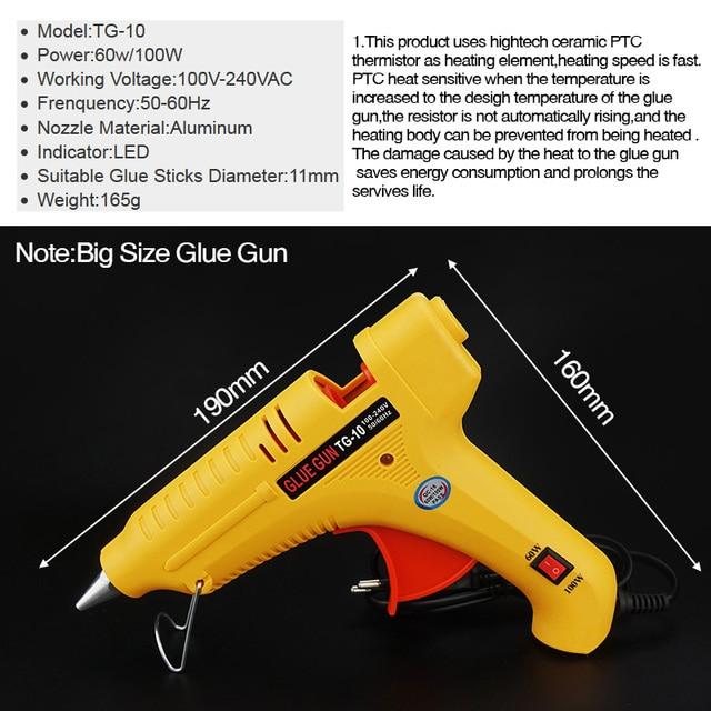 Livraison gratuite TG-10 60W 100W Double puissance bricolage thermofusible colle pistolet bâtons noirs déclencheur Art artisanat réparation outil avec lumière