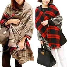 Fantastic New Women Tassel Lattice Large Checked Plaid Tartan Winter scarves Wraps Shawl Cappa