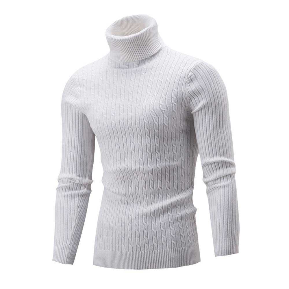 2019 New Autumn Winter Men's Sweater Turtleneck Solid Color Casual Sweater Fashion Men's Slim Slim Warm Knitted Pullovers Z0703