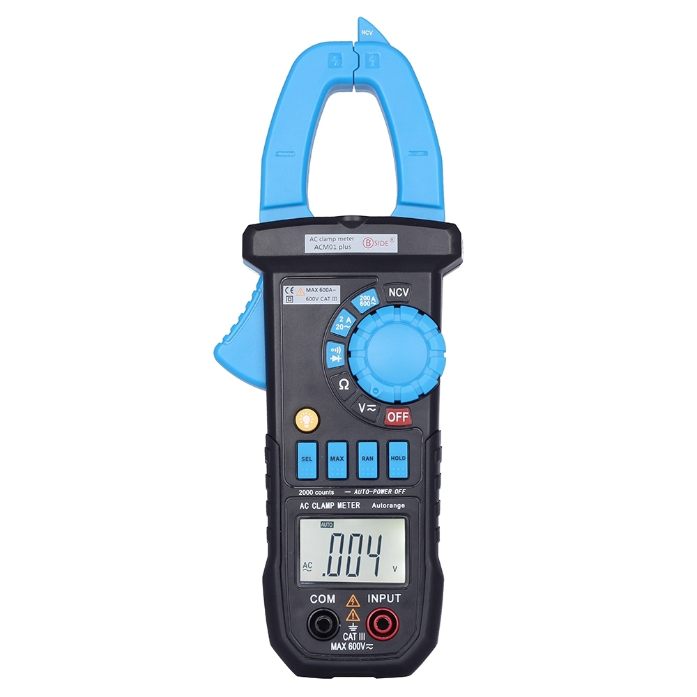 BSIDE ACM01 Digital AC Current Clamp Meter 1999 Counts Multimeter AC/DC Voltage Resistance Meter Tester Pinza Amperimetrica auto digital clamp meter mastech ms2108a pincers ac dc current voltage capacitor resistance tester aimometer multimeter amper
