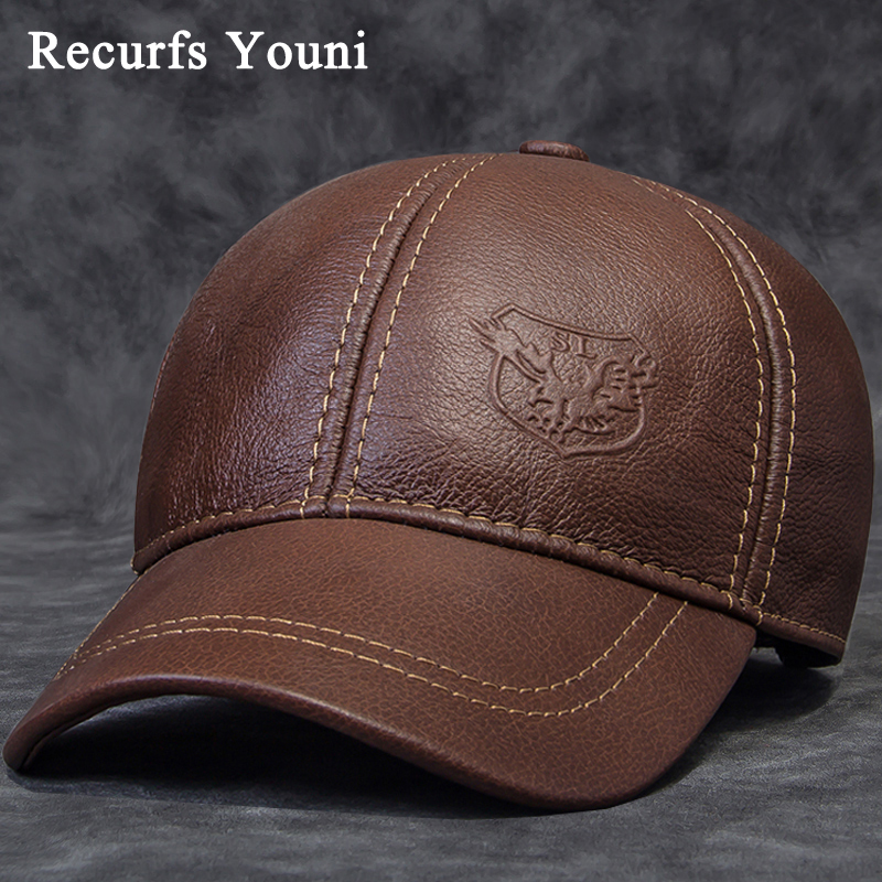 2018 Winter Male Genuine Leather Eagle Print 56 60CM Black/Brown Baseball Caps For Man Casual Street Gf Gorras Dad Hat RY119-in Men's Baseball Caps from Apparel Accessories