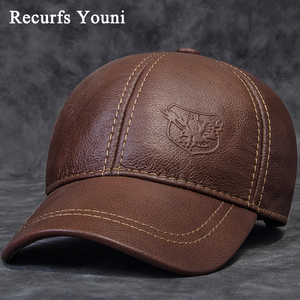 Image 1 - 2020 Winter Male Genuine Leather Eagle Print 56 60CM Black/Brown Baseball Caps For Man Casual Street Gf Gorras Dad Hat RY119