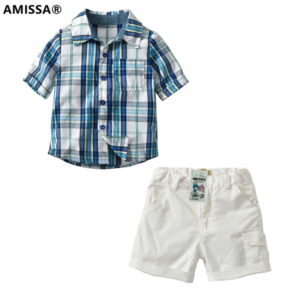Amissa 2018 European Lattice Shirt Woven Shorts Child Twinset Baby Kids Clothes Children Clothing Sets Casual Cotton Boys Plaid