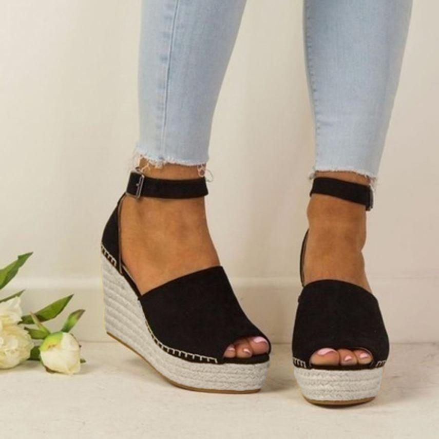 Sandals Flatform Espadrilles-Shoes Wedges Peep-Toe Fashion Sewing Dull Hasp Polish title=