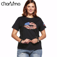 DEZZAL Women Casual Summer Plus Size Round Neck T Shirt Female Loose Shirt Lip Pattern Rhinestoned