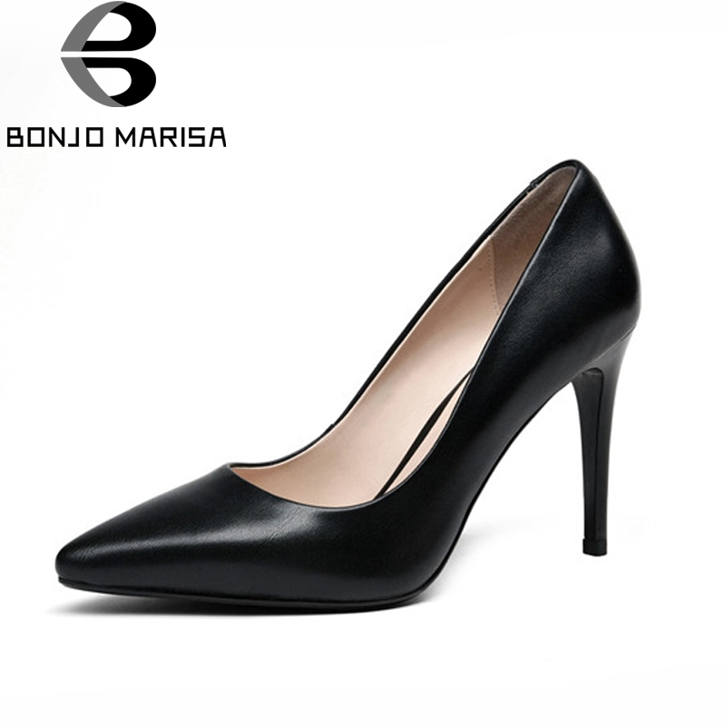 BONJOMARISA 2018 Women's Patent Leather High Heel Party Wedding Office Shoes Woman Pointed Toe Less Pumps Size 34-39 2017 women pointed toe patent leather office high heel shoes ladies pumps wedding party dress shoes 8 cm appliques