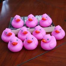 Купить с кэшбэком 10pcs rubber soft gel deep pink shape duck baby bathroom bath swimming bath float ball play water squeeze floating toy duck