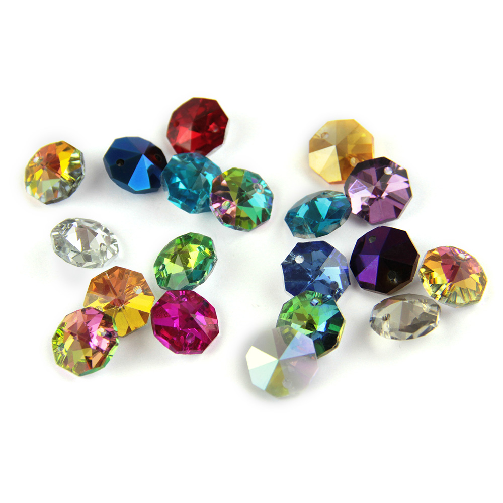 14mm Crystal Chandelier Parts Colorful Glass Octagon Beads In Two Holes DIY Strand Accessories Sucatchers For Home Decoration