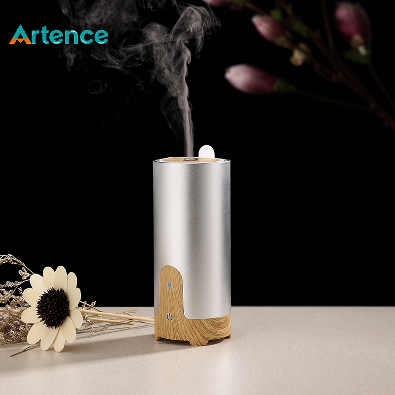 Car Mini Ultrasonic Essential Oil Aroma Diffuser Aluminium Alloy Wood Grain Aromatherapy USB Humidifier With US Plug