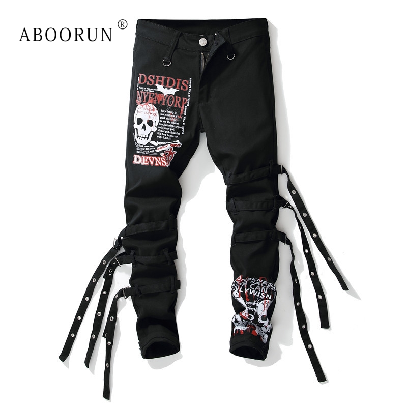 ABOORUN Fashion Skull Printed   Jeans   Men's Punk Skinny   Jeans   with Ribbons Male Hip Hop Streetwear   Jeans   x1574