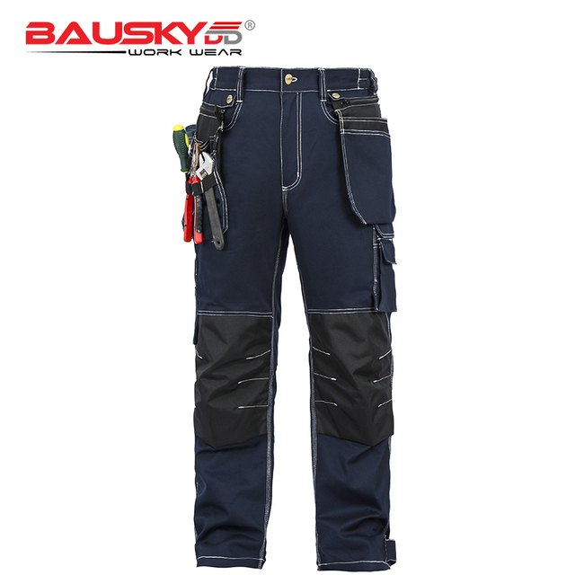 Bauskydd Mens carperner 100% cotton durable multi pockets work trousers with eva  knee pads work pant workwear  free shipping 1